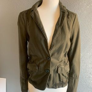 Army Green with Checkered Back Blazer
